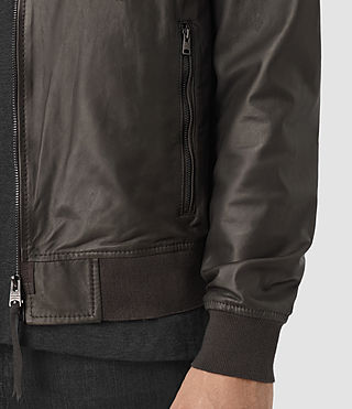 Men's Yoto Leather Bomber Jacket (ANTHRACITE GREY) - product_image_alt_text_3