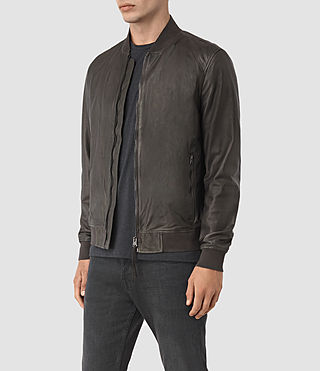 Men's Yoto Leather Bomber Jacket (ANTHRACITE GREY) - product_image_alt_text_4