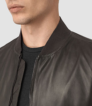 Men's Yoto Leather Bomber Jacket (ANTHRACITE GREY) - product_image_alt_text_5