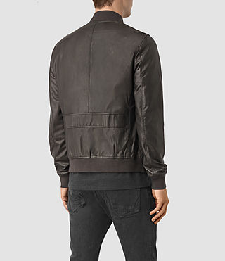 Men's Yoto Leather Bomber Jacket (ANTHRACITE GREY) - product_image_alt_text_6