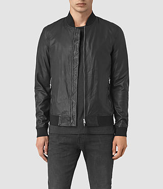 Hombre Yoto Leather Bomber Jacket (Black)