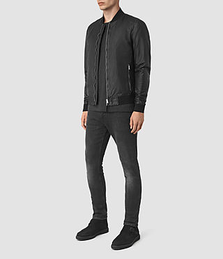 Men's Yoto Leather Bomber Jacket (Black) - product_image_alt_text_2