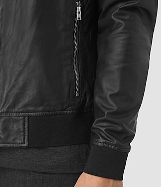 Men's Yoto Leather Bomber Jacket (Black) - product_image_alt_text_3