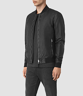 Men's Yoto Leather Bomber Jacket (Black) - product_image_alt_text_4