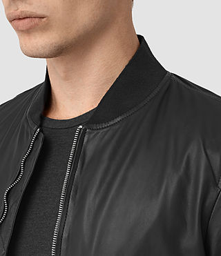 Men's Yoto Leather Bomber Jacket (Black) - product_image_alt_text_5