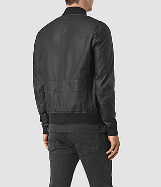 Men's Yoto Leather Bomber Jacket (Black) - product_image_alt_text_6
