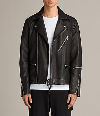 Men's Ryo Leather Biker Jacket (Jet Black) - product_image_alt_text_1