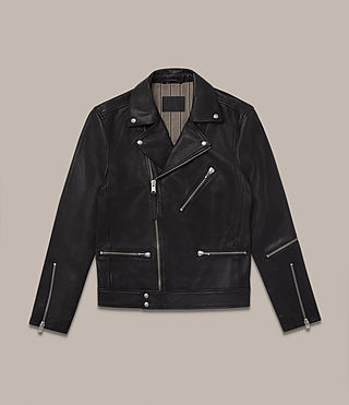 Men's Ryo Leather Biker Jacket (Jet Black) - product_image_alt_text_2