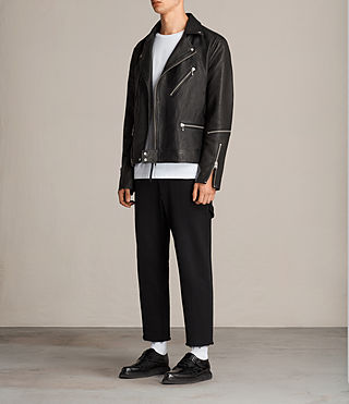 Men's Ryo Leather Biker Jacket (Jet Black) - product_image_alt_text_4