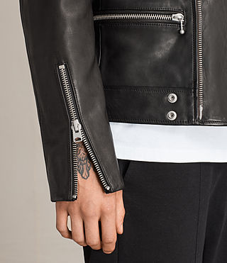 Men's Ryo Leather Biker Jacket (Jet Black) - product_image_alt_text_5