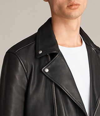 Men's Ryo Leather Biker Jacket (Jet Black) - product_image_alt_text_6