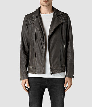 Mens Conroy Leather Biker Jacket (Anthracite)