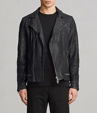 Allsaints Uk Mens Cargo Leather Biker Jacket Black Grey