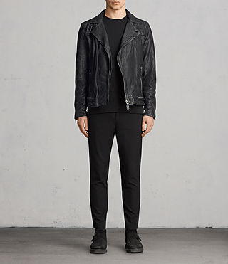 Hombre Conroy Leather Biker Jacket (Ink) - product_image_alt_text_3