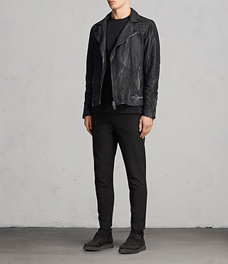 Hombre Conroy Leather Biker Jacket (Ink) - product_image_alt_text_4