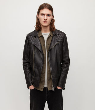 Mens Conroy Leather Biker Jacket (INK NAVY)