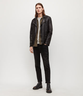 Mens Conroy Leather Biker Jacket (INK NAVY) - Image 3