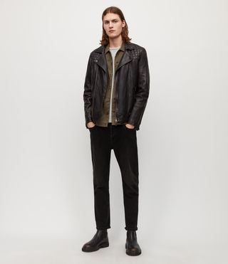 Men's Conroy Leather Biker Jacket (INK NAVY) - Image 5