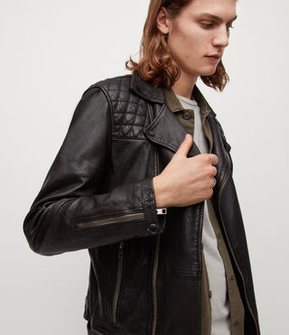 Mens Conroy Leather Biker Jacket (INK NAVY) - product_image_alt_text_6