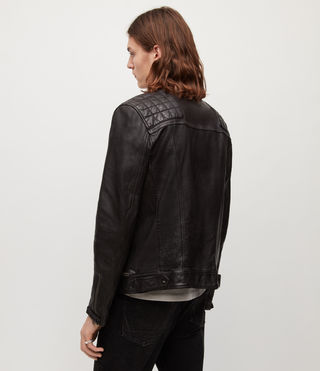 Mens Conroy Leather Biker Jacket (INK NAVY) - product_image_alt_text_7