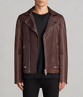 Hombre Conroy Leather Biker Jacket (OXBLOOD RED)