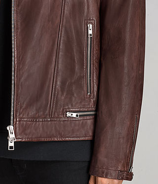 Men's Conroy Leather Biker Jacket (OXBLOOD RED) - Image 5