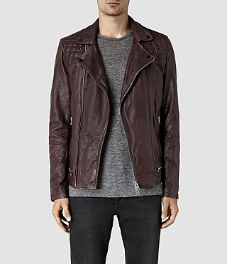 Hommes Conroy Leather Biker Jacket (Oxblood)
