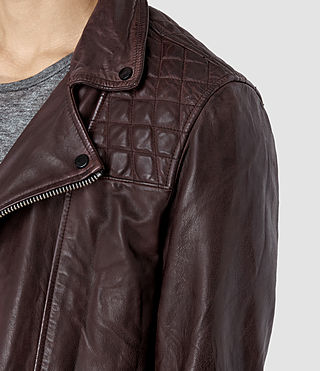 Hombres Conroy Leather Biker Jacket (Oxblood) - product_image_alt_text_2