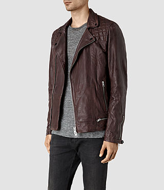 Hombres Conroy Leather Biker Jacket (Oxblood) - product_image_alt_text_3