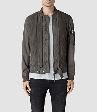 Mens Calester Suede Bomber Jacket (Slate Grey) - product_image_alt_text_1