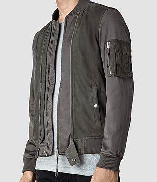 Mens Calester Suede Bomber Jacket (Slate Grey) - product_image_alt_text_2