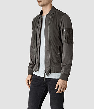 Mens Calester Suede Bomber Jacket (Slate Grey) - product_image_alt_text_3