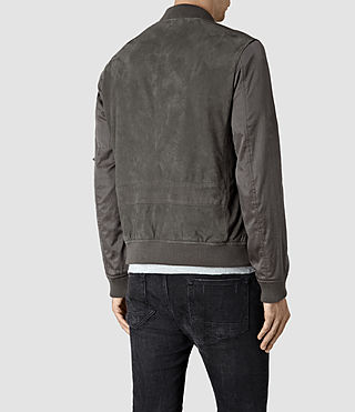 Hommes Calester Suede Bomber Jacket (Slate Grey) - product_image_alt_text_4