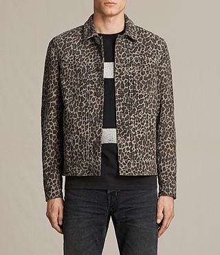Men's Jetter Suede Jacket (LEOPARD GREY)