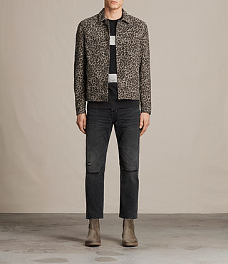 Men's Jetter Suede Jacket (LEOPARD GREY) - product_image_alt_text_3