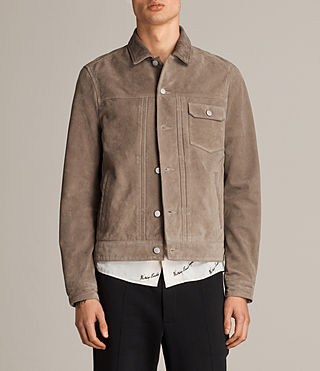Men's Suede Trucker Jacket (Light Khaki) - product_image_alt_text_1