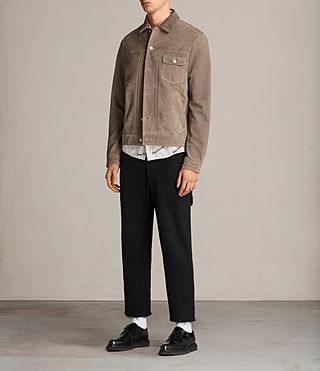 Men's Suede Trucker Jacket (Light Khaki) - product_image_alt_text_4