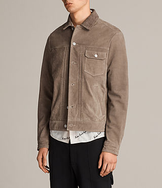Men's Suede Trucker Jacket (Light Khaki) - product_image_alt_text_7