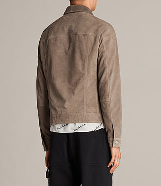 Men's Suede Trucker Jacket (Light Khaki) - product_image_alt_text_8