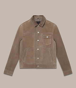Mens Trucker Suede Jacket (Light Khaki Green) - Image 2
