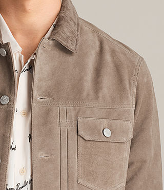 Mens Trucker Suede Jacket (Light Khaki Green) - Image 3