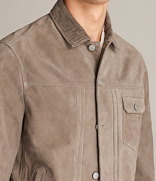 Mens Trucker Suede Jacket (Light Khaki Green) - Image 6