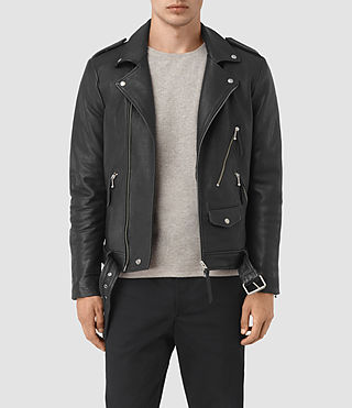 Mens Casey Leather Biker Jacket (Black)