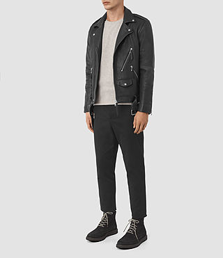 Hombre Casey Leather Biker Jacket (Black) - product_image_alt_text_2