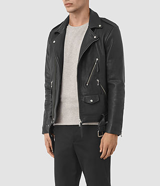 Hombre Casey Leather Biker Jacket (Black) - product_image_alt_text_3