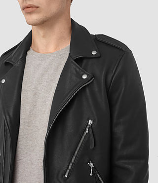 Mens Casey Leather Biker Jacket (Black) - product_image_alt_text_4