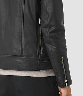 Hombre Casey Leather Biker Jacket (Black) - product_image_alt_text_5