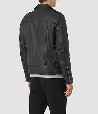 Hombre Casey Leather Biker Jacket (Black) - product_image_alt_text_6