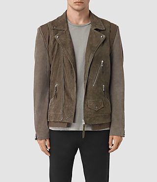 Hombres Sesley Suede Biker Jacket (LIGHT SLATE GREY)