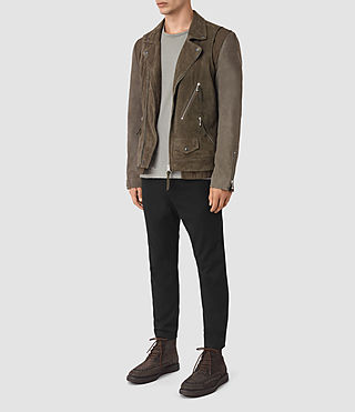 Mens Sesley Suede Biker Jacket (LIGHT SLATE GREY) - product_image_alt_text_2